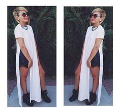 Moxeay Bandage Womens Open Side Split Long Maxi Dress Summer Solid T-shirts Tops (L, White) Moxeay http://www.amazon.com/dp/B00LTO7ZNG/ref=cm_sw_r_pi_dp_Bsm9tb1H4DQGE