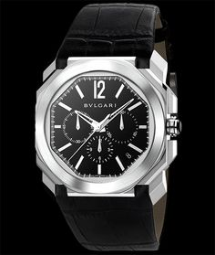 Bulgari Octo, chronograph and date on alligator leather strap. Available at Cellini Jewelers