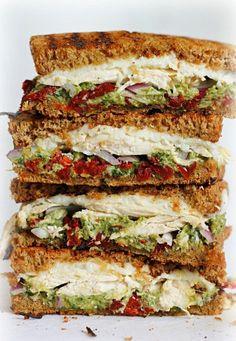 Chicken sun-dried tomato and asparagus pesto sandwich