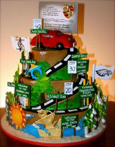 road of life cake with road signs; navy, marriage, kids