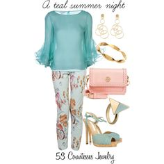 """""""A teal summer night"""" by countess-flower on Polyvore"""