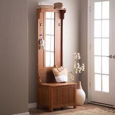 Amazon.com: Wooden Entryway Tall Hall Tree Bench Coat and Hat Rack with Mirror in Oak Finish. With 2 Double Hooks in Antique Bronze, Storage Bench Base and a Full Length Central Mirror.: Kitchen & Dining
