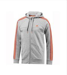 Chaqueta G70266 Gri Adidas ESS 3S Hood. Diseño atractivo con rayas en todo el capó. Capucha con cordón ajustable, dos bolsillos laterales. Adecuado para el deporte o la ropa de sport.