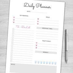 Planificateur quotidien imprimable, tous les jours faire liste, organisateur de la journée, horaire, agenda de bureau, Pages d