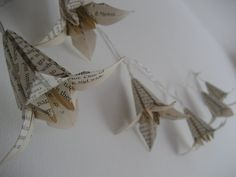 Old book lily light-Fairy light-LED string light- upcycled gift- origami flower lights-Ready to ship on Etsy, $25.68