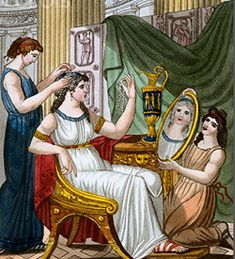 Roman women of stature went to great lengths and spent a tedious amount of time on their hair. A curling iron was used to establish perfect curls and dyes were used to color their hair.