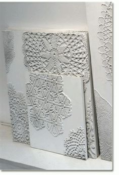 Allred Design Blog: IBP Crafting with Canvas, Part 1. Haven't read this yet but looks similar to canvases I did with doilies.