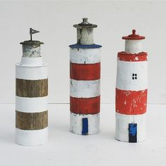 Lighthouses made from the handle of an old oar and other bits from my treasure box!