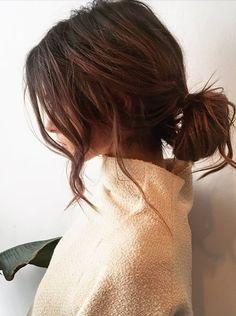 romantic curls + low bun