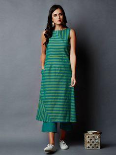 Green Blue Striped Cotton Kurta with Pants - Set of 2 Simple Kurti Designs, Salwar Designs, Stylish Dress Designs, Kurta Designs Women, Kurti Designs Party Wear, Tunic Designs, Dress Neck Designs, Indian Designer Outfits, Designer Dresses