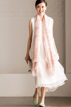 5f1d9533ac6 Art Embroidered White Simple Long Dress Summer Women Dress Q295A Simple Long  Dress