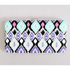 Brighter Aztec Wallet (9045 IQD) ❤ liked on Polyvore featuring bags, wallets, mint, faux leather bag, white wallet, mint green wallet, aztec bag and pattern wallet