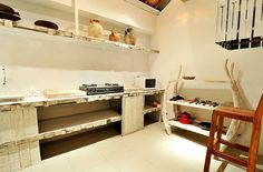 Kitchen - Villa Bambu - so in love with this white washed furniture!
