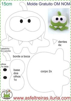 Best 12 Cris's wall photos Plushie Patterns, Softie Pattern, Felt Patterns, Felt Diy, Felt Crafts, Fabric Crafts, Felt Monster, Monster Dolls, Sewing Toys