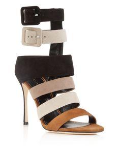 Sergio Rossi Zebra Strappy High Heel Sandals