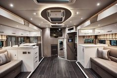 We think we could pretty much live in this Sovereign Emperor horsebox full time! Horse Box Conversion, Horse Transport, Luxury Fifth Wheel, Luxury Yachts, Luxury Rv, Rv Makeover, Truck Interior, Compact Living, Luxe Life