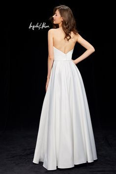 Angela & Alison Style #81149 Satin ball gown with halter neckline, beaded pockets and open back.