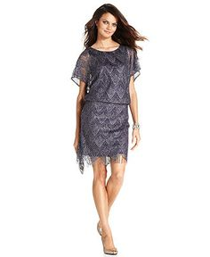 SL Fashions Dress, Short-Sleeve Metallic Fringe Blouson - Womens Dresses - Macy's