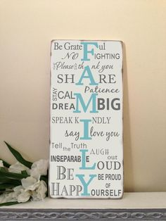 FAMILY RULES  Typography Word Art Sign on wood Distressed