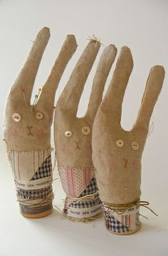 primitive bunny pin cushions on spools