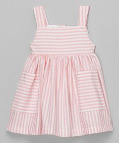 This Pink & White Stripe Dress - Infant, Toddler & Girls is perfect! #zulilyfinds