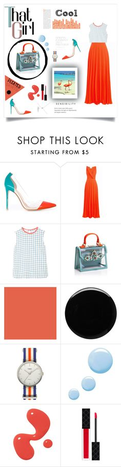 """""""pleated skirt"""" by paulagar ❤ liked on Polyvore featuring beauty, Gianvito Rossi, Cédric Charlier, Equipment, Shourouk, Deborah Lippmann, Timex, Topshop, Gucci and pleatedskirts"""