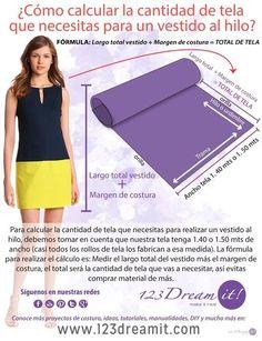 Para calcular la cantidad de tela que necesitas para elaborar un vestido recto, solo da click en la imagen!!