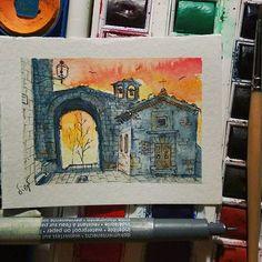 Volterra, Porta San Felice. Microacquarello 7x5cm #watercolor #picoftheday #acquarello #volterra #tuscany #art