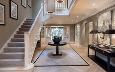 Hallway designs · hallway flooring · elegant large house in berkshire with eclectic interiors bespoke staircases, entry foyer, foyer staircase Hallway Flooring, Hallway Walls, Dark Hallway, Long Hallway, Foyer Staircase, Entry Foyer, Staircase Design, D House, House Stairs
