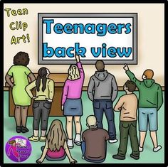 Teens back view clip art - color and black line $