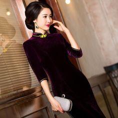 Women Velvet Retro Elegant Coat Jacket Cheongsam Tea Service Buckle Slim Chinese