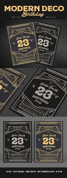 Modern Deco Birthday Party Invitaiton Flyer Template PSD, AI Illustrator