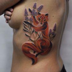 188 отметок «Нравится», 3 комментариев — Zhenya Knyazeva (@knyazevatattoo) в Instagram: «Лисичка для Даши )))Цвет цвет)Цвет цвет) #color #colortattoo #flowers #wildworld #nature #tatts…»