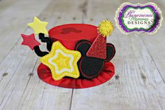 Classic Mickey Mouse Inspired Birthday Hat Mini Top Hat Photo Prop