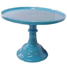 Blue milk glass cake stand.