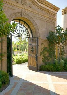 Full Arched Hand Forged Wrought Iron Gate  ~Grand Mansions, Castles, Dream Homes & Luxury Homes
