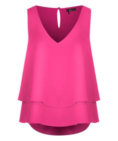 Look at this Dex Fuchsia Tiered V-Neck Tank on #zulily today!