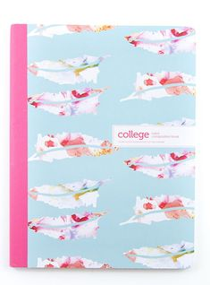 Add a little fun to your school supplies with these lovely college-ruled composition notebooks featuring a watercolor feather design ink pinks, purples, and other pastels on a baby blue background. The notebook is a standard composition size with 80 sheets of lined paper for all of your notetaking needs. Would also make a great bullet journal or writer's workshop notebook.
