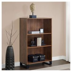 "48"" 3 Shelf Tavia Bookshelf Light Walnut - Whalen : Target 3 Shelf Bookcase, Metal Bookcase, Bookcase Styling, Bookshelves, Bookshelf Lighting, Cube Organizer, College Dorm Rooms, Room Essentials, Particle Board"