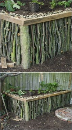 25 cheap and easy DIY home and garden projects with sticks and branches – DIY garden decor – Famous Last Words Diy Garden Projects, Diy Garden Decor, Garden Crafts, Easy Garden, Home And Garden, Inexpensive Landscaping, Yard Landscaping, Landscaping Ideas, Backyard Ideas