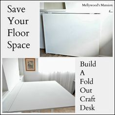 Don't have any space but want a big craft desk? build your own fold out desk, use it when you need it and fold it away when you're done. Perfect for guest rooms, apartments and small living spaces.