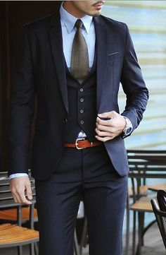 Classic Three piece suit with a touch of rich orange thin belt- The definition of dapper Suit Fashion, Look Fashion, Mens Fashion, Fashion Menswear, Latest Fashion, Fashion Tips, Fashion Trends, Sharp Dressed Man, Well Dressed Men