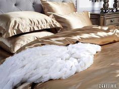Shimmering polyester gold satin Duchess Bedding. $49.95 - $199.95 #ZGallerie