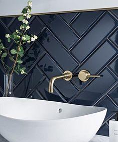 Diy Bathroom, Modern Bathroom, Small Bathroom, Bathroom Black, Modern Sink, Bathroom Ideas, Minimalist Bathroom, Blue Bathroom Tiles, Brass Bathroom