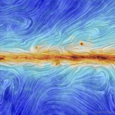 Our galaxy's magnetic field from Planck  What does the magnetic field of our Galaxy look like? It has long been known that a modest magnetic field pervades ourMilky Way Galaxybecause it is seen to align smalldust grains that scatterbackground light. Only recently, however, has theSun-orbiting Plancksatellitemade a high-resolution mapof this field. Color coded, the30-degree wide mapconfirms, among other things, that the Galaxy's interstellar magnetismis strongest in the central…