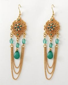 Elegant Teal and Gold-Tone Chandelier #Earrings $12.98 and Free Shipping