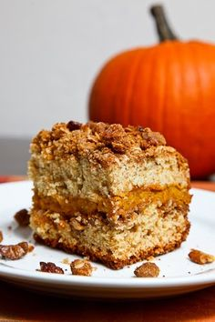 Sour Cream Pumpkin Coffee Cake - Yum.   This is different with a layer of pumpkin and a streusel topping!!