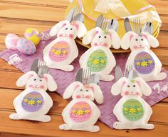 Easter Bunny Silverware Holder Pockets - Set of 6