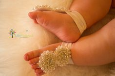 Jewelle  Baby Barefoot Sandals  Flower Girl Shoes by StellasDesign, $28.00 -- For Iluska!