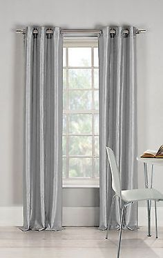 2 SILVER PANEL 80 BLACKOUT HEAVY THICK GROMMET WINDOW CURTAIN LINED DRAPES
